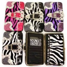 36 Units of Rhinestone buckle wallets with zebra prints