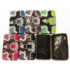 36 Units of Western Buckle Design Camouflage Rhinestone Wallets