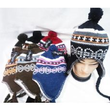 48 Units of Knit Winter Hats with Ear Flaps Multi Color - Trapper Hats
