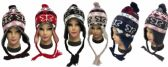 36 Units of Knit Butterfly Heart Winter Hats with Ear Flaps - Winter Animal Hats