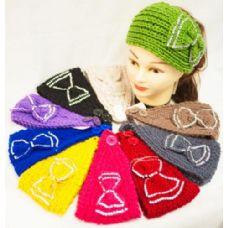 36 Units of  Knit Flower Headband Simple Design Rhinestone Bowtie - Ear Warmers