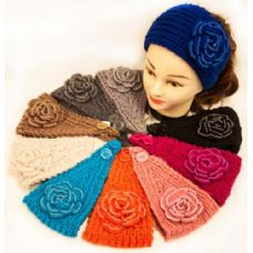 36 Units of Knit Flower Headband Solid Color Design with Pearls - Ear Warmers