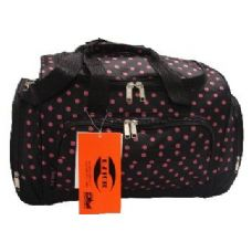 """12 Units of """"E-Z Tote"""" 20"""" Mini Polka Dots-Black W/Pink - Backpacks 18"""" or Larger"""