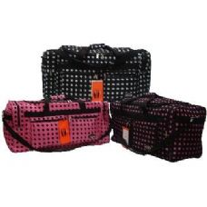 "12 Units of 30"" Black with Pink Polka Dots Tote"