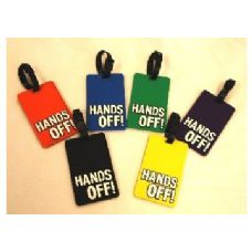 "100 Units of HANDS OFF"" Luggage Tag-Green color"