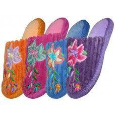 48 Units of Children's Velvet Floral House Slippers