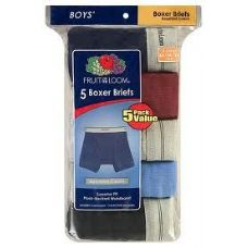 48 Units of FRUIT OF THE LOOM BOY'S 5 PACK BOXER BRIEFS - Boys Underwear