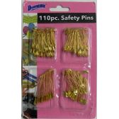 48 Units of 110 Piece Gold Plated Safety Pins - SAFETY PINS
