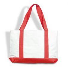 48 Units of P & O Cruiser Tote Bag-White/Red - Tote Bags & Slings