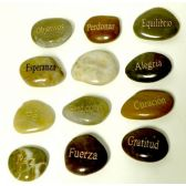 48 Units of Inspirational Stones Assorted Saying Spanish - Baking Supplies