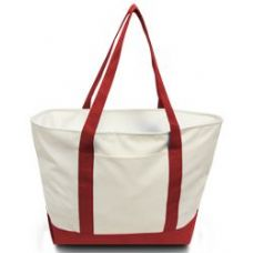 24 Units of Bay View Giant Zipper Boat Tote WRED - Tote Bags & Slings