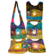10 Units of  Handmade Nepal Hobo Bags Owl Flower Patch Design - Handbags