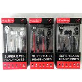 24 Units of Fashion Super Bass Stereo Earbuds Headset with Microphone,Tangle Free Flat Wire