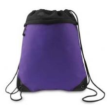 """24 Units of Coast to Coast Drawstring Pack - Purple and Black - Backpacks 15"""" or Less"""