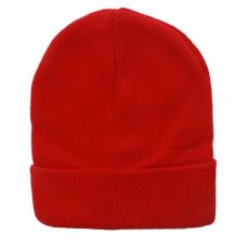 72 Units of Unisex Solid Red Winter Beanie Hat 12 Inch