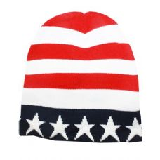 36 Units of American Flag Beanie Hat - Winter Beanie Hats