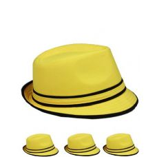 24 Units of Yellow And Black Fedora Hat