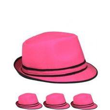 24 Units of Pink And Black Fedora Hat One Color