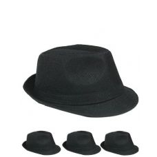 24 Units of Unisex Fedora Hat In Solid Black - Fedoras, Driver Caps & Visor