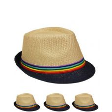 24 Units of FEDORA HAT WITH BLACK BRIM AND RAINBOW COLORED BAND - Fedoras, Driver Caps & Visor