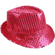 24 Units of PINK SEQUINED FEDORA HAT - Fedoras, Driver Caps & Visor