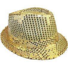 24 Units of Gold Sequins Fedora Hat - Fedora Hat/Driver Cap/ Ivy Cap/Visor