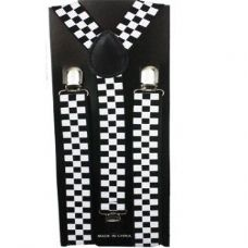 48 Units of Checkered Suspender in Black and White - Suspenders