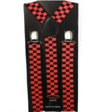 48 Units of Checkered Black and Red Suspender - Suspenders