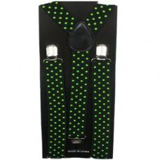 96 Units of Adult Black Suspender With Green Dots - Suspenders