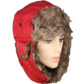 36 Units of PILOT HAT IN RED WITH FAUX FUR LINING AND STRAP - Trapper Hats