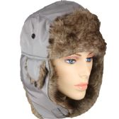 48 Units of PILOT HAT IN GREY WITH FAUX FUR LINING AND STRAP