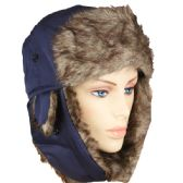 36 Units of PILOT HAT IN BLUE WITH FAUX FUR LINING AND STRAP - Trapper Hats