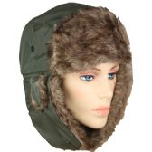 36 Units of PILOT HAT IN GREEN WITH FAUX FUR LINING AND STRAP