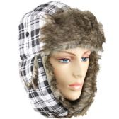 24 Units of WHITE PLAID WINTER PILOT HAT WITH FAUX FUR LINING AND STRAP - Trapper Hats