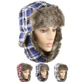 48 Units of BLUE PLAID WINTER PILOT HAT WITH FAUX FUR LINING AND STRAP - Trapper Hats