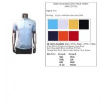 48 Units of Men's Solid Polo Shirt Pique Fabric 100% Cotton In Size Chart In A - Mens Polo Shirts