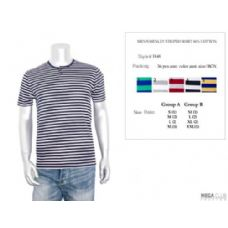 36 Units of Mens Henley Striped Shirt 60% Cotton In Size Chart B Only - Mens Shirts
