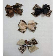 "36 Units of 4"" Alligator Clip w Bow--Animal Print - Bows & Ribbons"