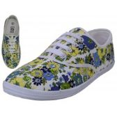24 Units of Women's Canvas Lace Up Shoes ( *Yellow Daisy Printed ) - Women's Flats
