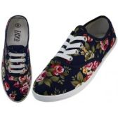 24 Units of Women's Canvas Lace Up Shoes ( *Navy Roses Print ) - Women's Flats