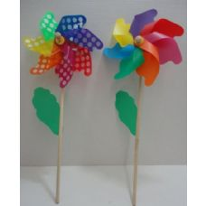 "120 Units of 12"" Pinwheel Wind Spinner with Wooden Stake [Polka Dot & Rainbow]"