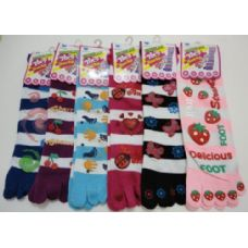 72 Units of Striped Toe Socks with Print - Women's Toe Sock