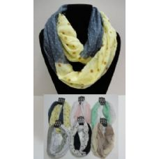 12 Units of Light Weight Infinity Scarf-Lg Sm Polka Dots - Womens Fashion Scarves