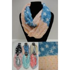 12 Units of Light Weight Infinity Scarf-Polka Dots/Stars - Womens Fashion Scarves