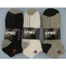 240 Units of 3pr Anklets with Dots-BLK/GRY/WHITE 10-13 Thick - Mens Ankle Sock