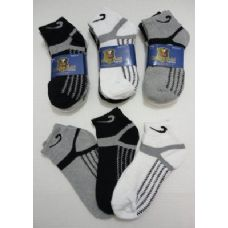 240 Units of 3pr Anklets 10-13 with ZigZag BLK/GRY/WHITE - Mens Ankle Sock
