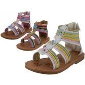 36 Units of Girl's Gladiator With Back Zipper Sandals - Girls Sandals