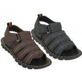 24 Units of Boy's Pu. Leather Upper Velcro Sandals ( *Asst. Black And Brown ) - Girls Sandals