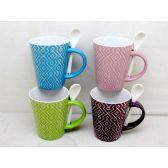 48 Units of Wholesale 11 Ounce Ceramic Mug with Spoon