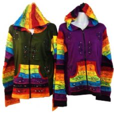 10 Units of Patchwork Cotton Handmade Nepal Jackets with Rainbow - Womens Active Wear